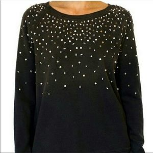 Pam & Gela Burnt Out Mixed Studded Sweatshirt